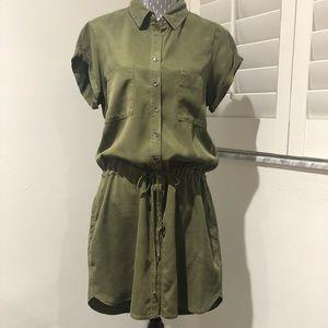 PAIGE olive green draw string waist dress